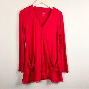 LOGO hot pink ruffle trim cardigan button sweater